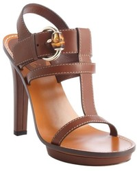 Gucci Brown Leather T Strap Buckle Detail Heel Sandals