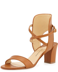 Paul Andrew Leather Crisscross Ankle Cuff Sandal Brown