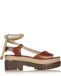 Michael Kors Michl Kors Kirstie Leather And Jute Platform Sandals