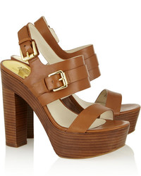 17e79a4bc45a8c Michl Michl Kors Beatrice Leather Platform Sandals Michl Michl Kors. Brown  Leather Heeled Sandals by MICHAEL ...