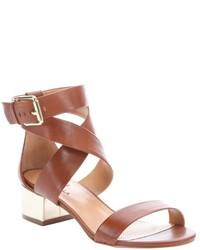 Ciao Bella Mid Brown Leather Cobble Metallic Heel Sandals