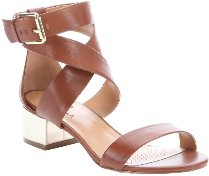 159dd4a27 ... Ciao Bella Mid Brown Leather Cobble Metallic Heel Sandals ...