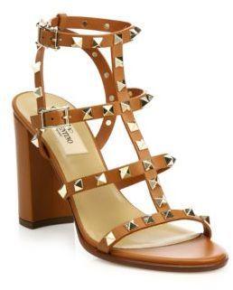 a351b063f37 ... Valentino Rockstud Leather T Strap Block Heel Sandals ...