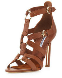 Brian Atwood Strappy Leather Sandal Brown