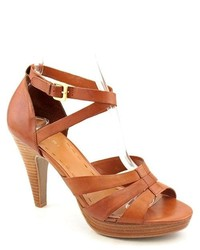 Tahari Trina Brown Open Toe Leather Platforms Sandals Shoes