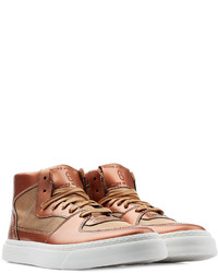 Brown Leather High Top Sneakers