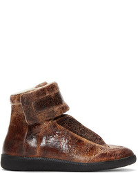 Brown brushed leather future sneakers medium 360140