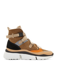Chloé Brown Sonnie High Top Sneakers