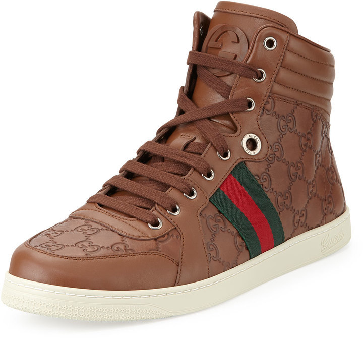 7739823cd7a41 ... Gucci Brown Ssima Leather High Top Sneaker ...
