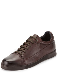 Ermenegildo Zegna Leather Low Top Sneaker Brown