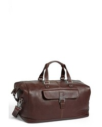 Boconi Tyler Leather Cargo Duffel Bag Brown