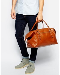 Asos Brand Leather Carryall In Tan