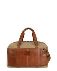 Tommy Bahama Canvas Leather Duffel Bag Khaki Cognac One Size