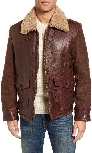 7f72c333390 ... Leather Jackets Schott NYC Mixed Media Flight Jacket With Genuine  Shearling Collar Lining ...
