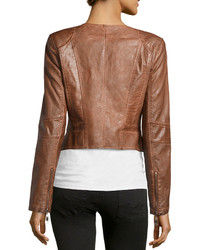 Raison D&39etre Faux Leather Cropped Jacket Brown | Where to buy