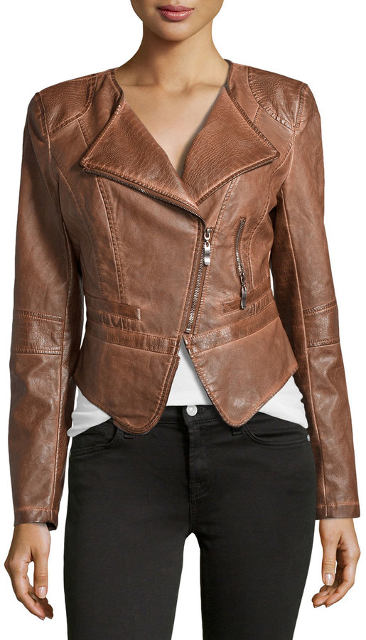 raison d etre faux leather cropped jacket brown where to