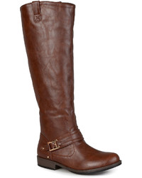 Journee Collection Kai Ankle Strap Riding Boots Wide Calf