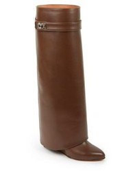Givenchy Shark Lock Knee High Leather Wedge Boots