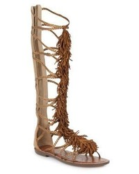 Gia knee high fringed metallic leather sandals medium 4468241