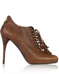 Balmain Adict Lace Up Leather Ankle Boots
