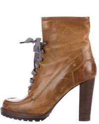 Brunello Cucinelli Leather Lace Up Ankle Boots