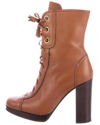 Prada Sport Leather Round Toe Ankle Boots
