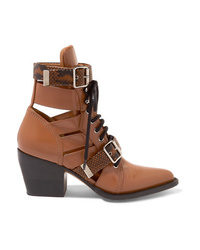 Chloé Rylee Cutout Snake Med Leather Ankle Boots