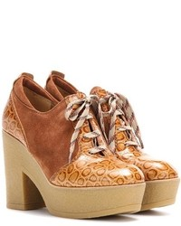 See by Chloe See By Chlo Platform Lace Up Suede And Leather Ankle Boots