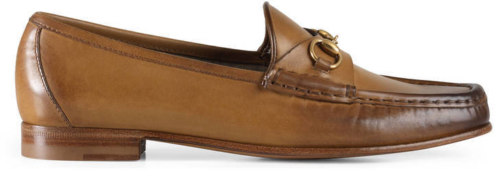 e054b85cc16 ... Brown Leather Loafers Gucci 1953 Horsebit Loafer In Leather ...