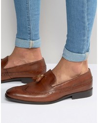 Asos Brogue Loafers In Tan Leather With Gold Tassle Detail