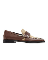 JW Anderson Brown And Beige Antick Stitch Loafers