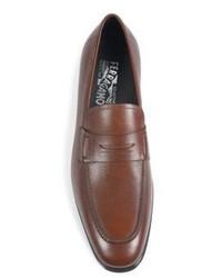 54e074949fd ... Salvatore Ferragamo Fiorino 2 Textured Leather Penny Loafers ...
