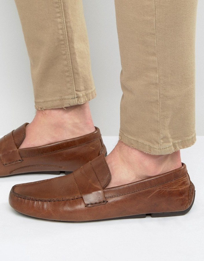 209d9642255 ... Brown Leather Loafers Red Tape Penny Loafer In Tan Leather ...