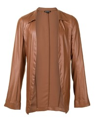 Ann Demeulemeester Faux Leather Open Front Shirt