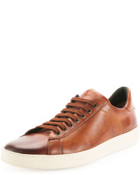 Brown Leather Low Top Sneakers