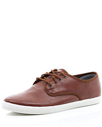 River Island Brown Leather Look Lace Up Plimsolls