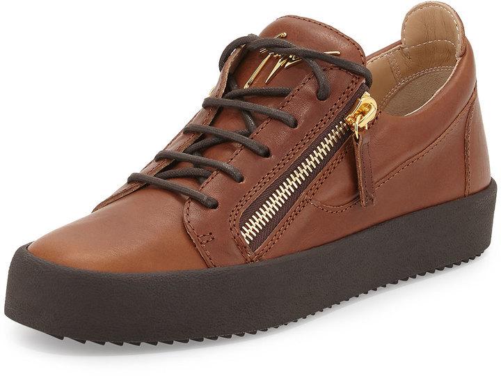 4602b7c23bd1c Giuseppe Zanotti Leather Low Top Sneaker Light Brown, $665 | Neiman ...
