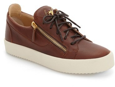 b59320036d7bb ... Brown Leather Low Top Sneakers Giuseppe Zanotti Side Zip Low Top Sneaker  ...