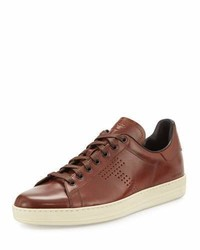 Tom Ford Warwick Leather Low Top Sneakers Brown