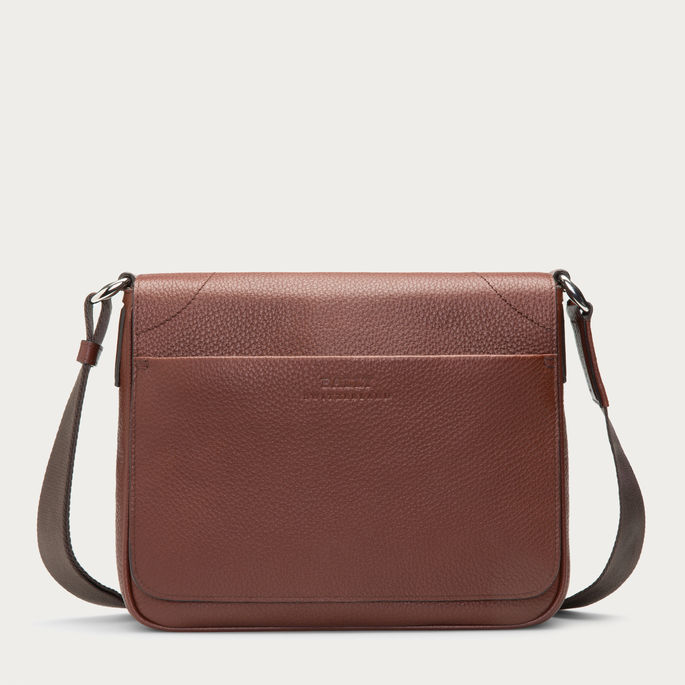 Bally Maddiff Leather Messenger Bag In Chestnut | Where to buy ...