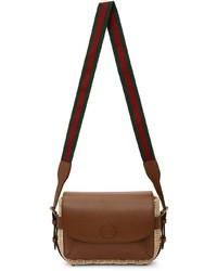 Gucci Beige Brown Small Wicker Messenger Bag