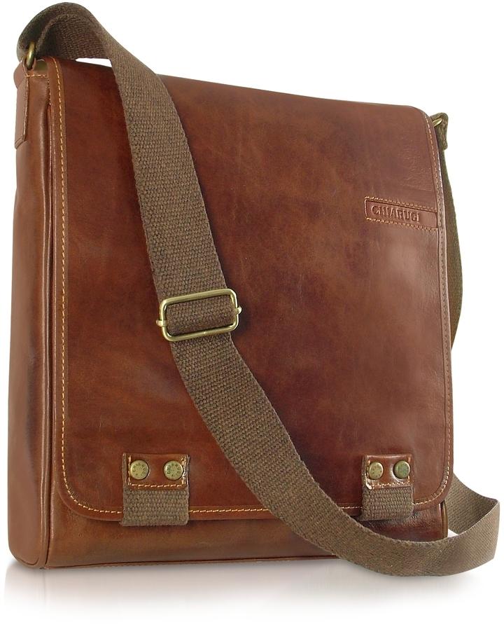 446 Chiarugi Handmade Brown Genuine Leather Crossbody Bag