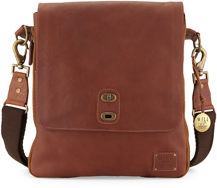 ... Will Leather Goods Otto Leather Crossbody Satchel Bag Cognac ... 57d3c2927