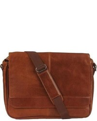 Wilsons Leather Rugged Leather Messenger Bag Cognac