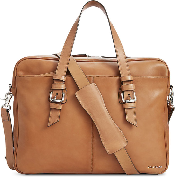 d699aceb63 Cole Haan Smooth Leather Zip Top Attache Bag, $458 | Macy's ...