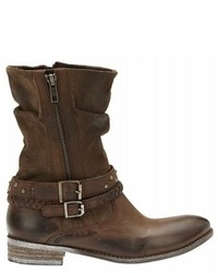 Brown Leather Mid-Calf Boots