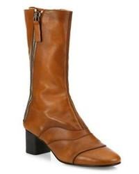 Chloé Chloe Lexie Mid Calf Zipper Leather Boots