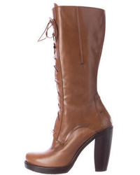 CNC Costume National Costume National Leather Lace Up Mid Calf Boots