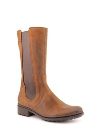 Hunter Darby Brown Leather Fashion Mid Calf Boots