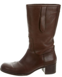 Jil Sander Leather Mid Calf Boots